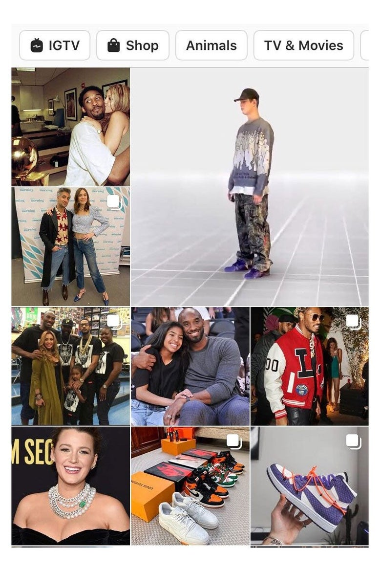 Screenshot of an Instagram Explore feed, featuring photos of celebrities.