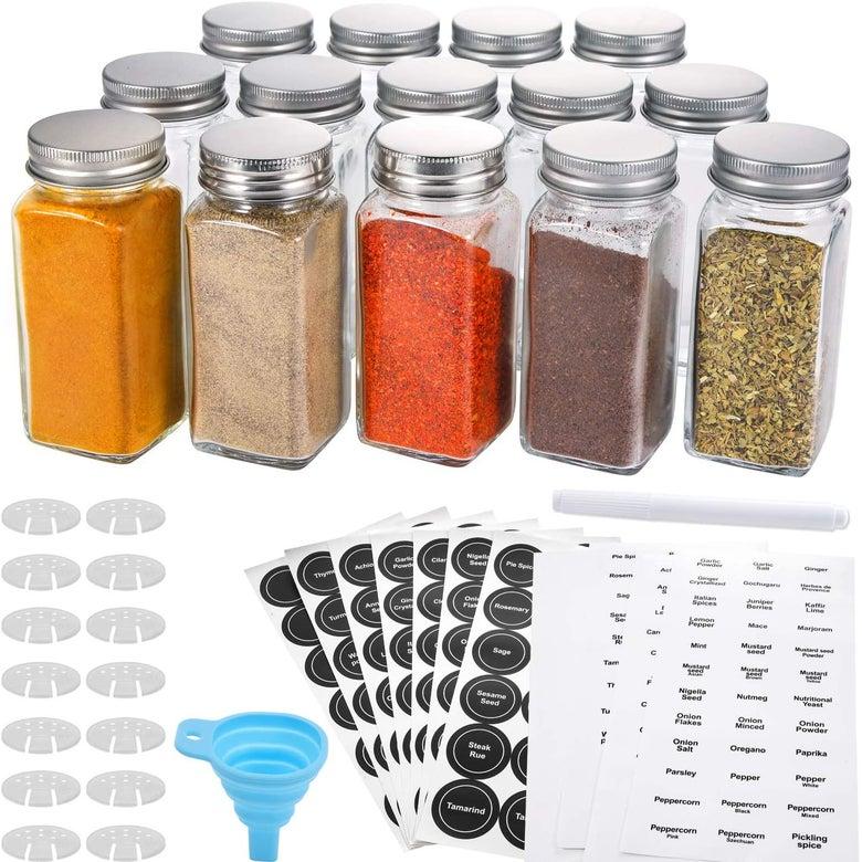 Aozita 14 Pcs Glass Spice Jars with Spice Labels