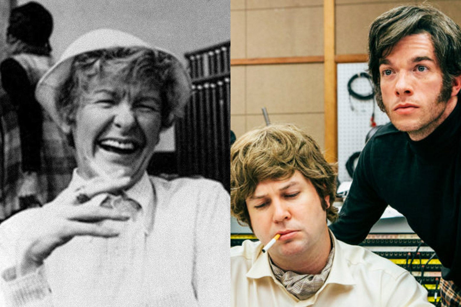 """Elaine Stritch in Original Cast Album: Company (left), Beck Bennett and John Mulaney in Documentary Now's """"Co-Op"""" (right)."""