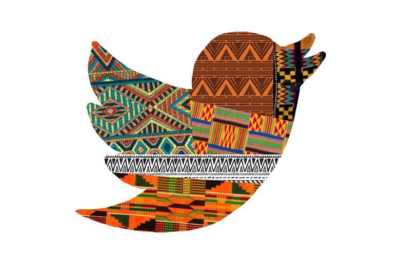 Twitter bird in African patterns.