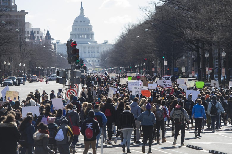 Thousands of students march down Pennsylvania Avenue from the White House to the US Capitol.