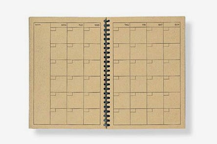 Recycled Paper Monthly Kraft Note A5 planner.