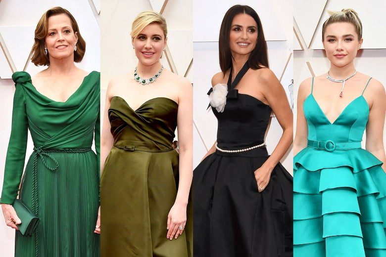Collage of Sigourney Weaver, Greta Gerwig, Penelope Cruz, and Florence Pugh wearing belted dresses on the red carpet of the Oscars.