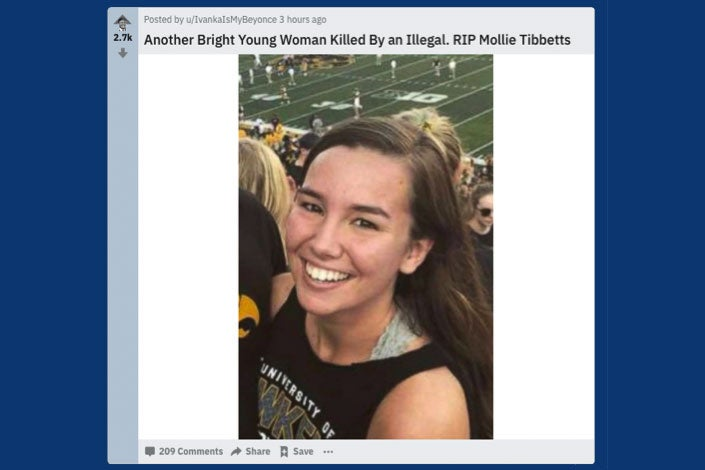 The_Donald headline featuring Mollie Tibbetts.