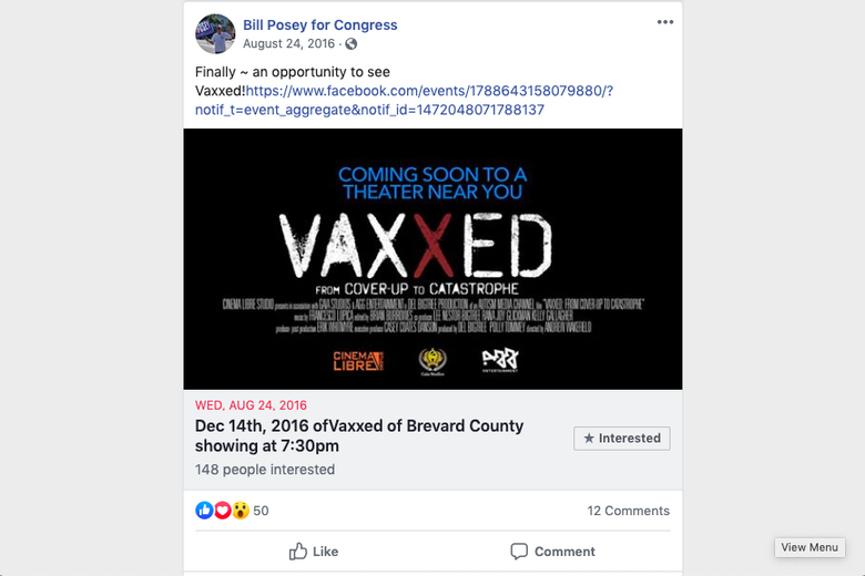 Rep. Posey promotes an anti-vaxx documentary.