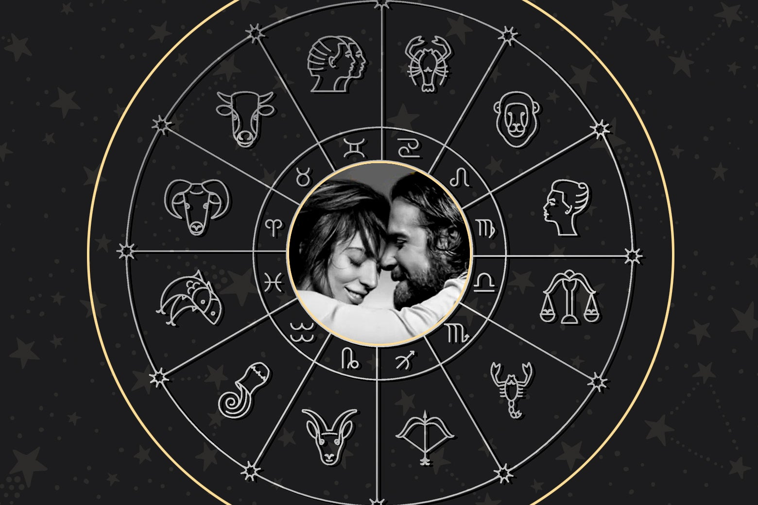 Lady Gaga and Bradley Cooper within an astrological chart