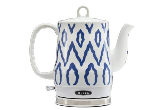 Bella white and blue ceramic kettle.