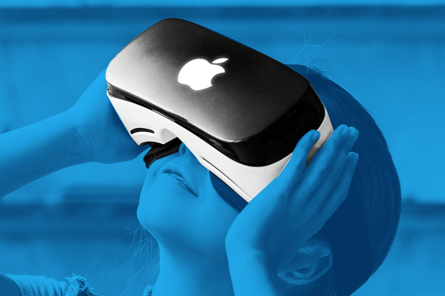 A VR headset with an Apple logo.