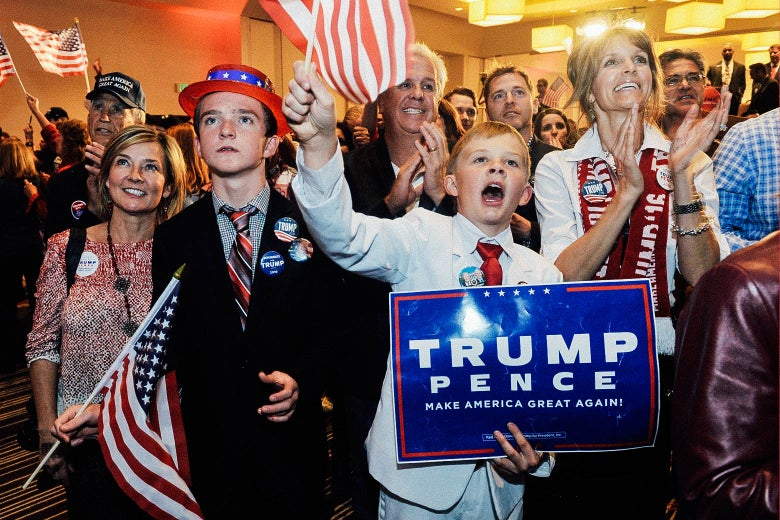 Donald Trump supporters at the Colorado GOP Election Night Party in Greenwood Village celebrate after he is declared winner of the 2016 U.S. election on Nov. 8, 2016.