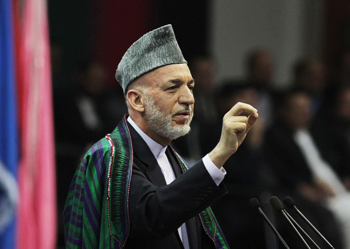 Former Afghan President Hamid Karzai speaks during an event to mark the martyrs week and 14th anniversary of the death of late Mujahideen leader of the Northern Alliance, Ahmad Shah Massoud, in Kabul, Afghanistan on September 9, 2015.