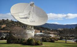 A general view shows the 70 metre dish that is tracking NASA's Mars science laboratory car-sized rover Curiosity at the Canberra Deep Space Communication Station at Tidbinbilla in Canberra on August 6th, 2012.