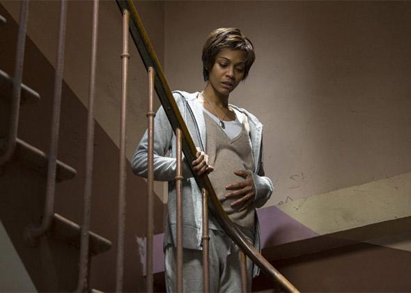 Zoe Saldana in Rosemary's Baby (2014).