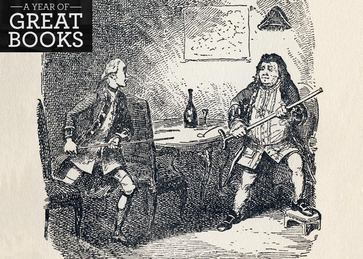 George Cruikshank's illustration to Laurence Sterne's Tristram Shandy.