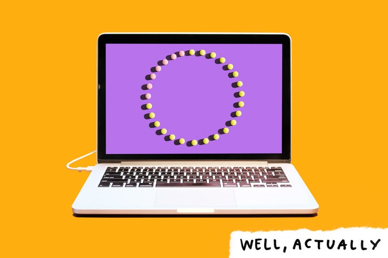 Laptop computer on a bright background, with photo of a full cycle of birth control pills on the screen.