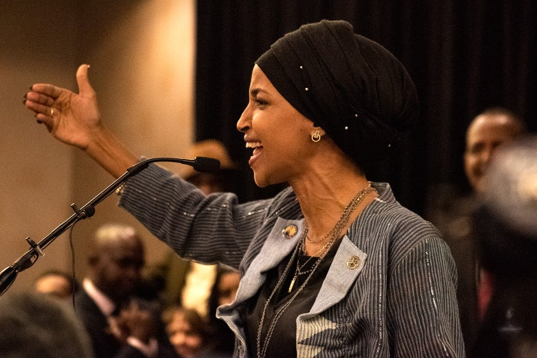 Ilhan Omar speaks at an election night results party in Minneapolis.