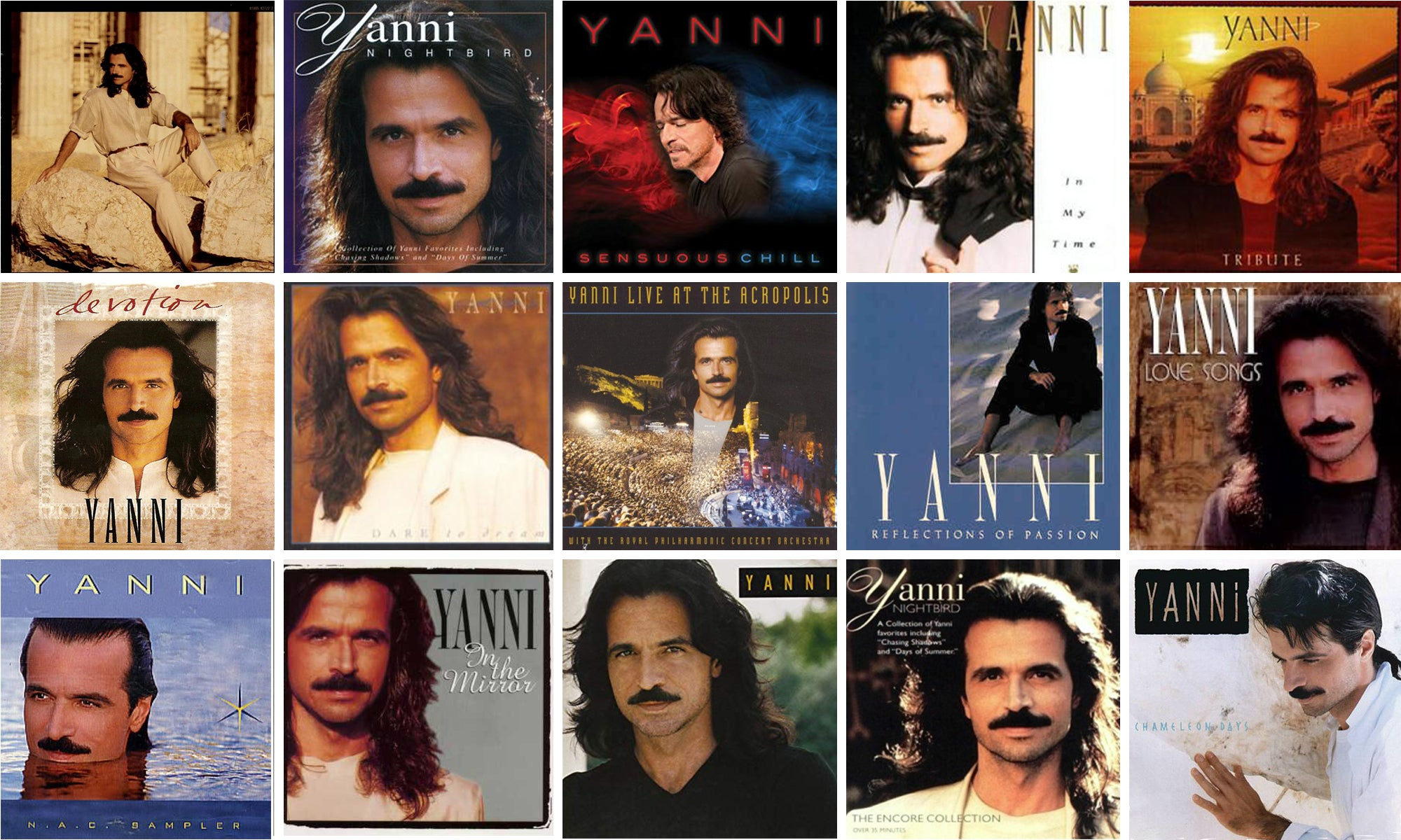A grid of Yanni album covers