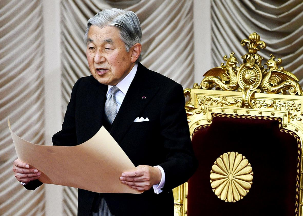 Japanese Emperor Akihito delivers his opening address for the extraordinary Diet session at the National Diet in Tokyo on August 1, 2016.