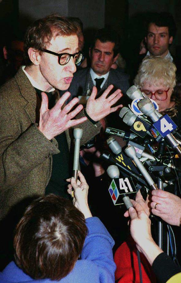 Woody Allen speaks to reporters after a pre-trial hearing in December 1992 during his custody fight with ex-wife Mia Farrow.