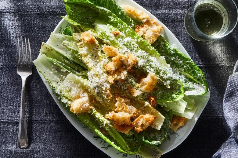 Caesar salad with croutons, romaine lettuce, and parmesan.