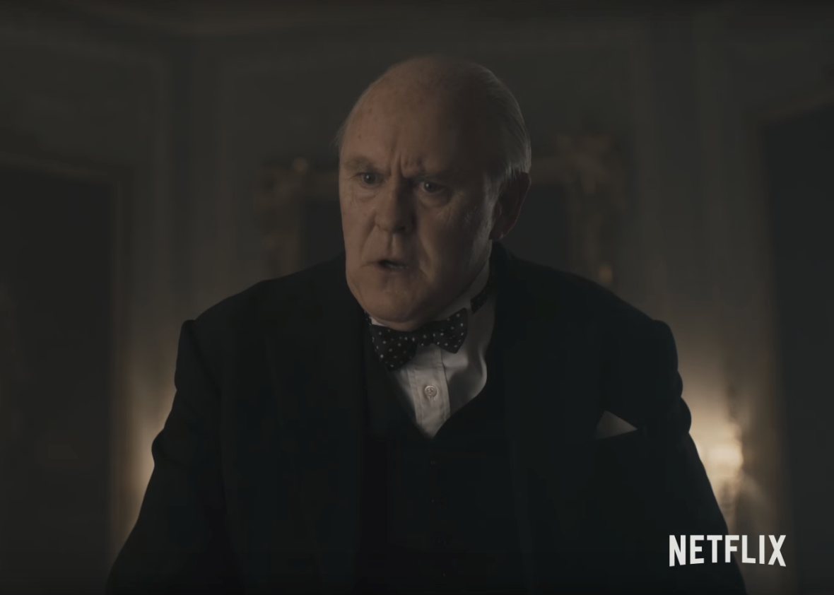 John Lithgow as Winston Churchill in The Crown.