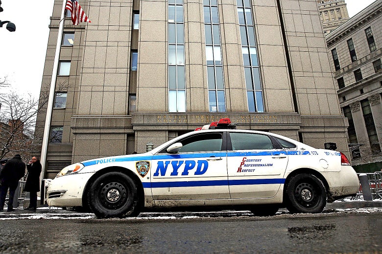Police patrol outside of a Manhattan courthouse on Jan. 9, 2015 in New York City.