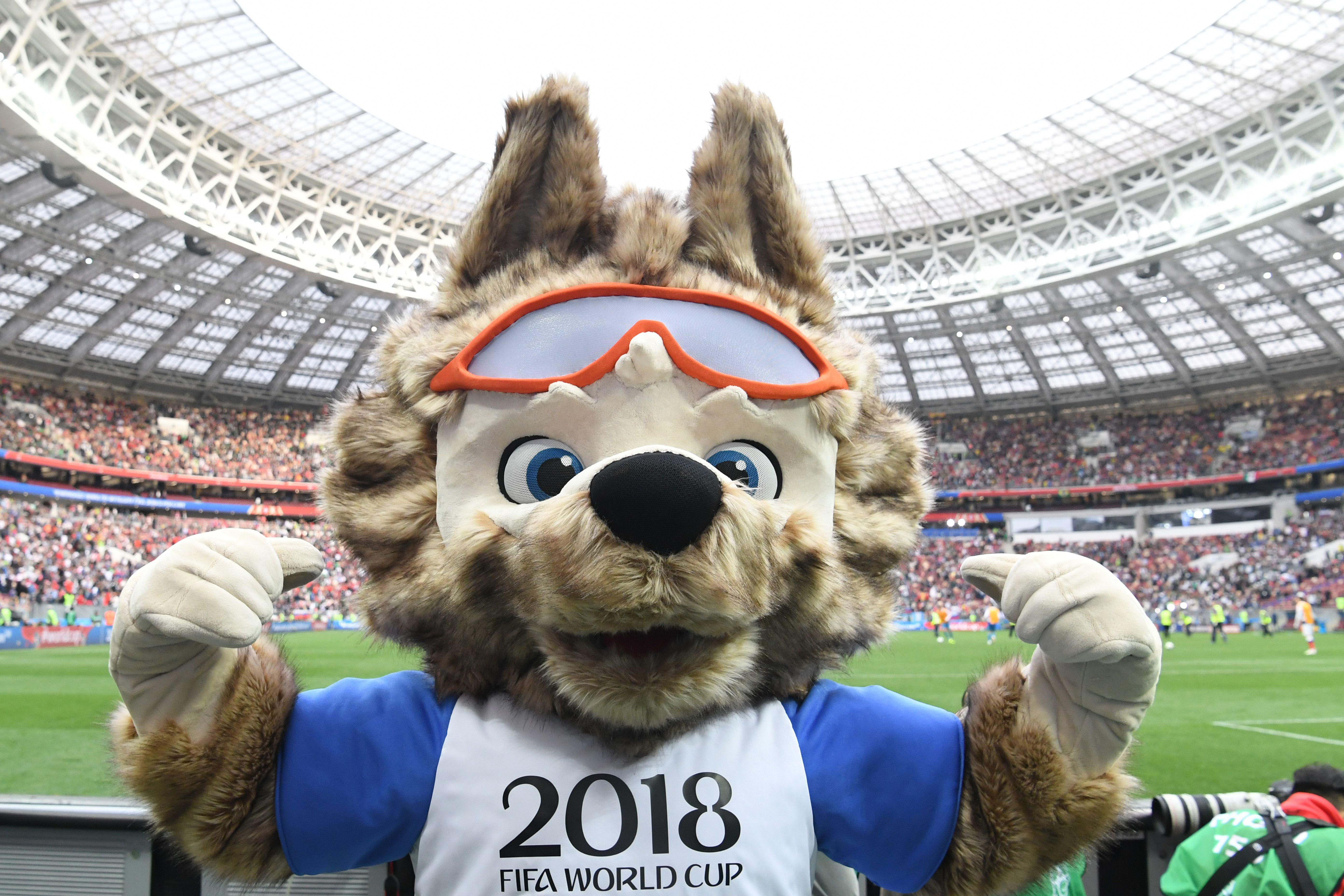 Russia 2018 World Cup football tournament's official mascot Zabivaka poses during the Russia 2018 World Cup Group A football match between Russia and Saudi Arabia at the Luzhniki Stadium in Moscow on June 14, 2018. (Photo by Kirill KUDRYAVTSEV / AFP) / RESTRICTED TO EDITORIAL USE - NO MOBILE PUSH ALERTS/DOWNLOADS        (Photo credit should read KIRILL KUDRYAVTSEV/AFP/Getty Images)