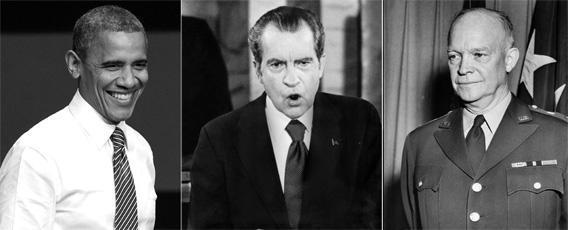 Presidents Barack Obama, Richard Nixon and Dwight Eisenhower.