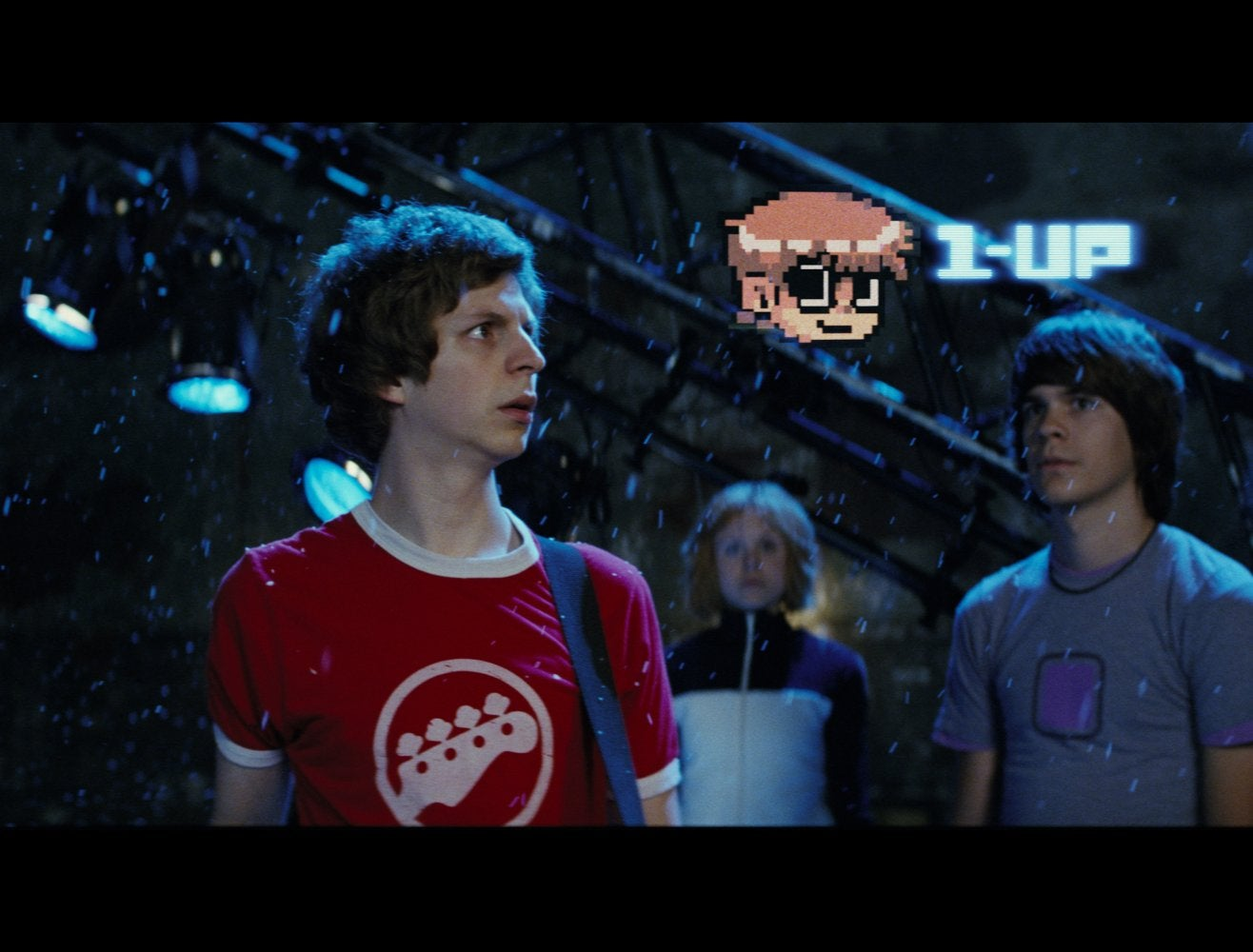 Michael Cera, Alison Pill, and Johnny Simmons in Scott Pilgrim vs. the World.