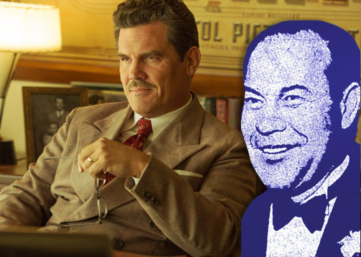 Josh Brolin as Eddie Mannix in Hail, Caesar! and the real Eddie Mannix.