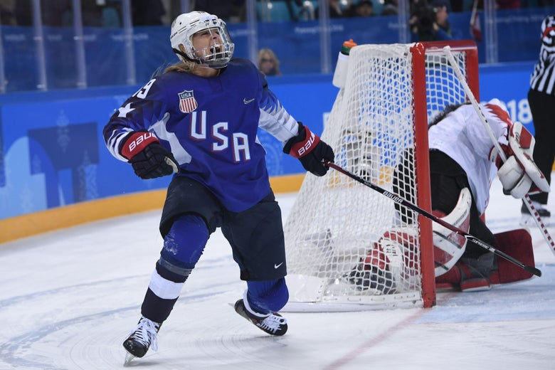 USA's Gigi Marvin scores during the penalty-shot shootout in the women's gold medal ice hockey match between the US and Canada during the Pyeongchang 2018 Winter Olympic Games at the Gangneung Hockey Centre in Gangneung on February 22, 2018.   / AFP PHOTO / JUNG Yeon-Je        (Photo credit should read JUNG YEON-JE/AFP/Getty Images)