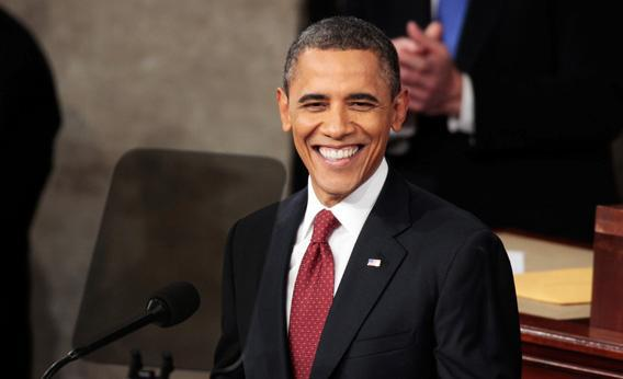 Smiling Barack Obama.