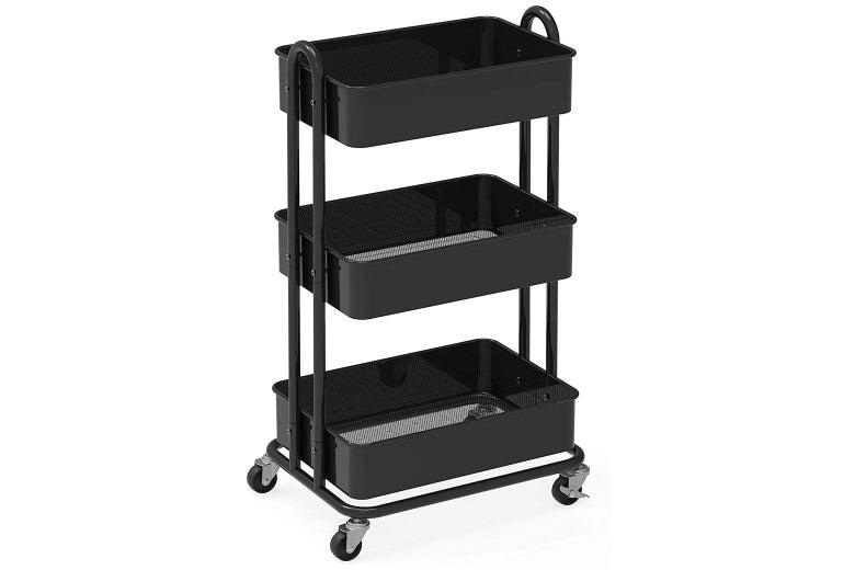 Three-tier metal rolling cart