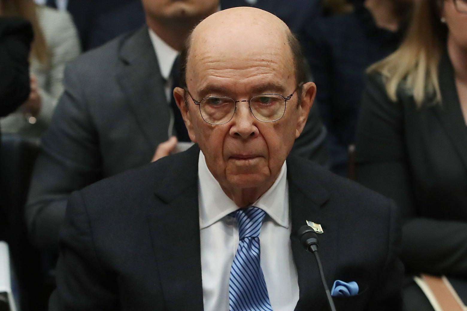 U.S. Commerce Secretary Wilbur Ross testifies on Capitol Hill on March 14 in Washington.