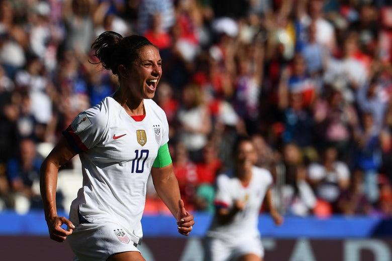 United States forward Carli Lloyd celebrates after scoring a goal against Chile, on Sunday at the Parc des Princes stadium in Paris.
