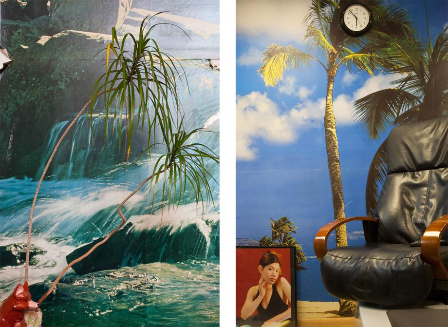 Left: American Alarm Co., Lower Level, Lobby, 2009. Right: Angel Nails, Portrait, 2009