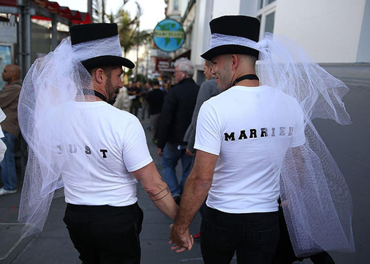 Same-sex marriage supporters wear just married shirts while celebrating the U.S Supreme Court ruling regarding same-sex marriage on June 26, 2015 in San Francisco, California.
