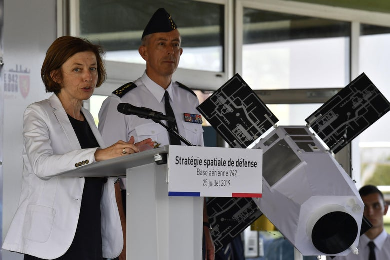 French Minister of Defence Florence Parly (L), addresses a speech next to the Air Force general Philippe Lavigne (C) to present the new Defence space Strategy on July 25, 2019 at the Command of Air Defence and Air Operations (Commandement de la defense aerienne et des operations aeriennes - CDAOA) in the base 942 on the Verdun mount in Poleymieux-au-Mont-d'Or near Lyon, eastern France. (Photo by PHILIPPE DESMAZES / AFP)        (Photo credit should read PHILIPPE DESMAZES/AFP/Getty Images)