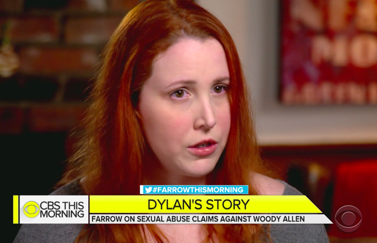"Dylan Farrow, with a chyron that says ""Dylan's Story: Farrow on sexual abuse claims against Woody Allen."""