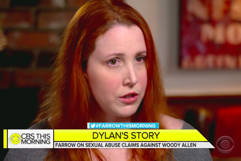 """Dylan Farrow, with a chyron that says """"Dylan's Story: Farrow on sexual abuse claims against Woody Allen."""""""