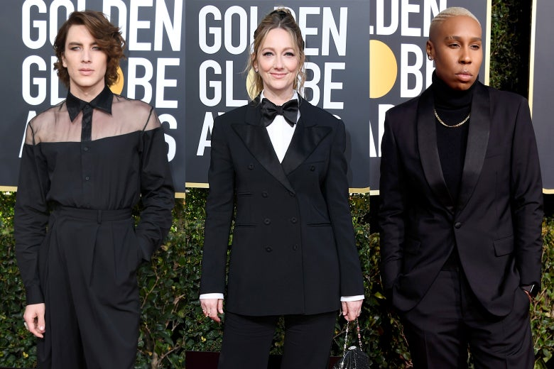 Cody Fern, Judy Greer, and Lena Waithe at the 2019 Golden Globes.