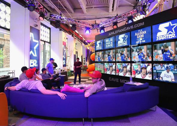 A general view of the atmosphere at the Starter x MLB All-Star Launch Party at MLB Fan Cave on July 13, 2013 in New York City.
