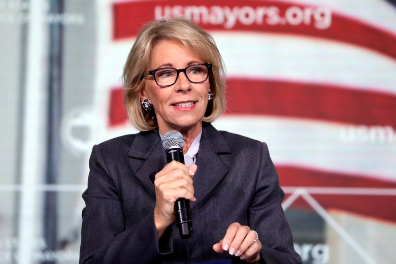 Education Secretary Betsy DeVos speaks at a conference in Washington, Jan. 24, 2019.