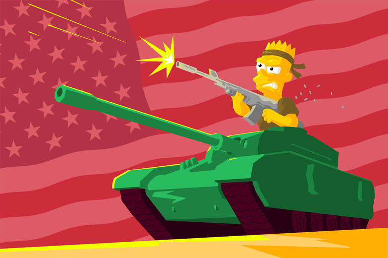 Bart Simpson manning an army tank.