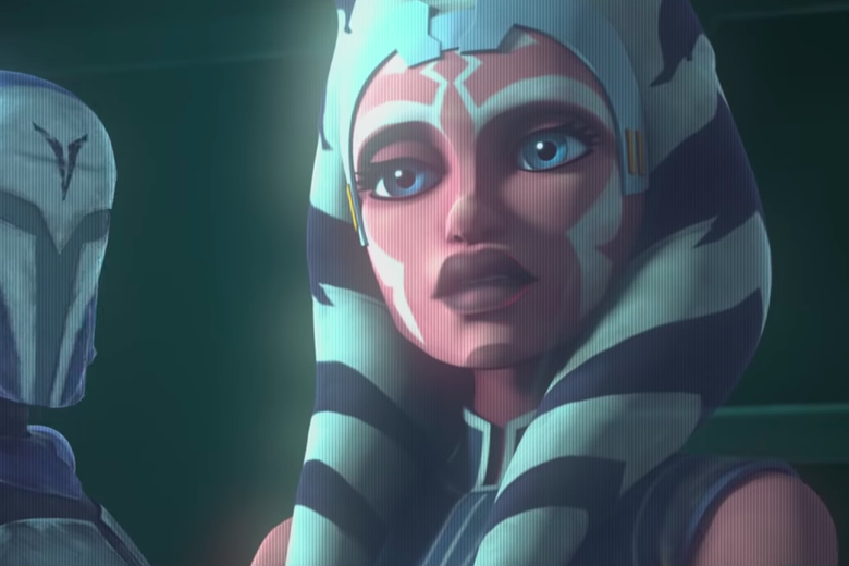Ahsoka Tano appears as a hologram. To the left, a hint of a Mandalorian helmet can be seen.