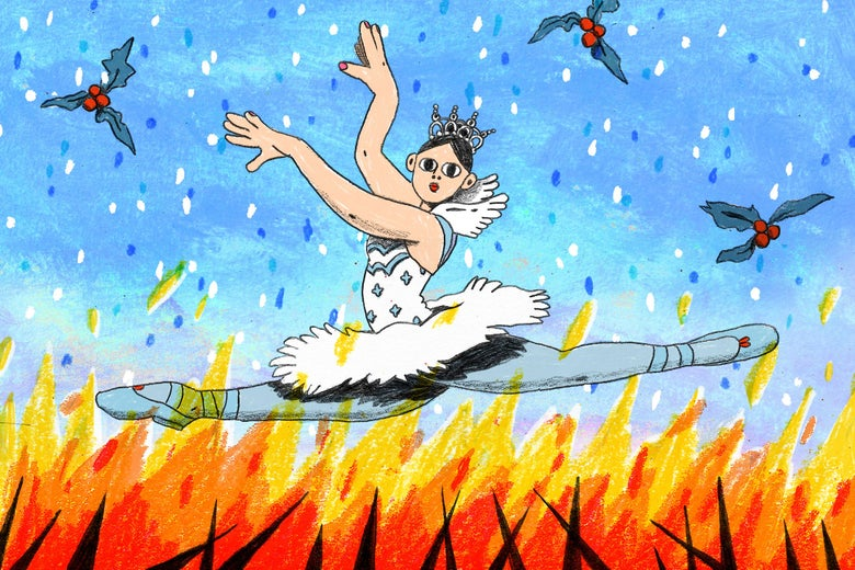 Illustration of a ballerina dancing above flames and beneath snow and mistletoe.