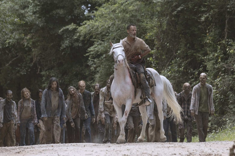 Rick Grimes on a white horse.