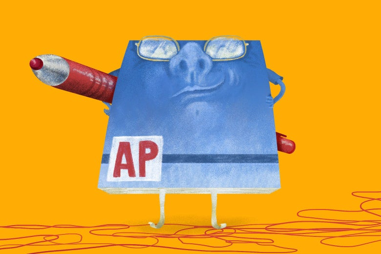An anthropomorphized AP Stylebook with a smug grin and a red pen.