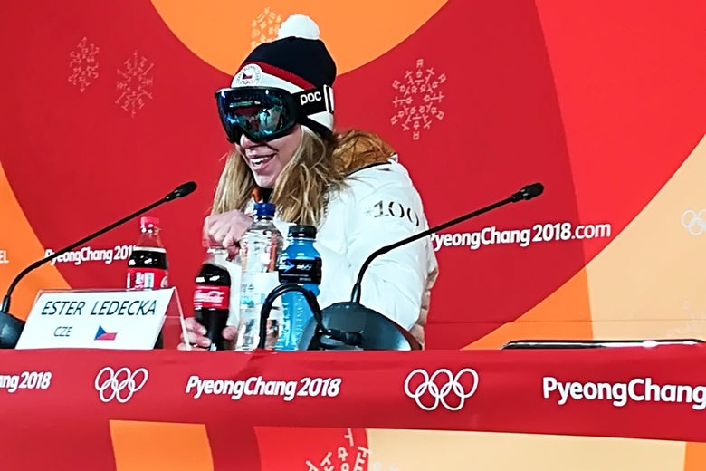 TOPSHOT - Czech Republic's Ester Ledecka keeps her goggles on during a press conference after winning the Women's Super-G at the Jeongseon Alpine Center during the Pyeongchang 2018 Winter Olympic Games in Pyeongchang on February 17, 2018.  / AFP PHOTO / Luke PHILLIPS        (Photo credit should read LUKE PHILLIPS/AFP/Getty Images)