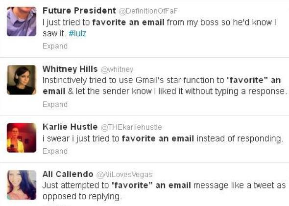 "A Twitter search for ""tried to 'favorite' an email"" turns up a long stream of results."