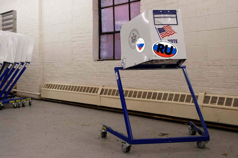Photo illustration: Voting booths sit at a New York City Board of Elections voting machine facility warehouse on Nov. 3, 2016, in the Bronx borough of New York City. The machine has added Russian stickers on it.